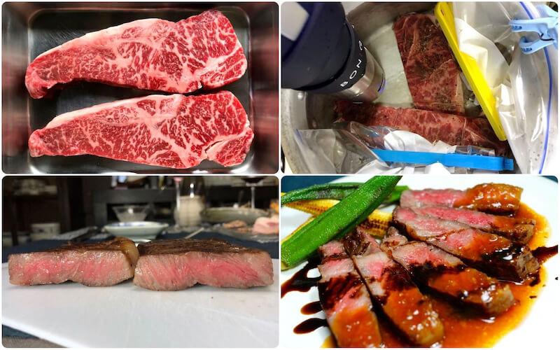 低温調理でステーキを焼く