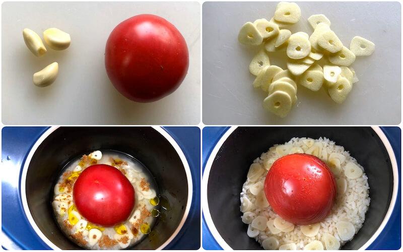 ベストポットでトマトご飯を炊く