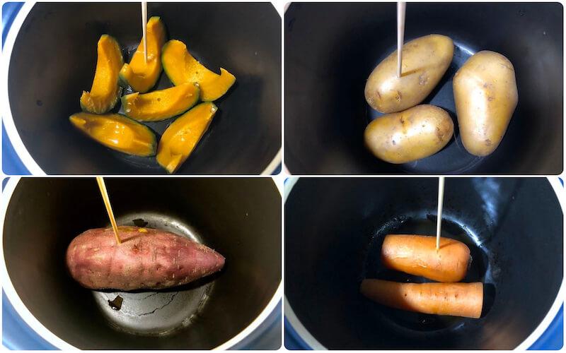 ベストポットで野菜を蒸す