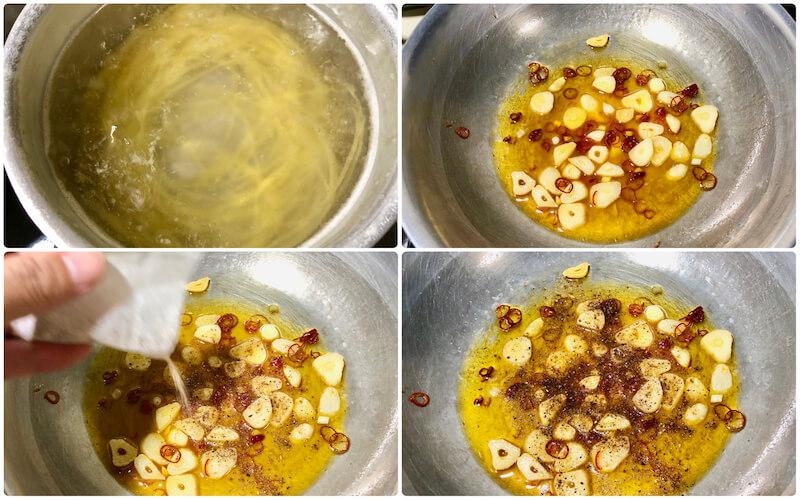 ふりだしペペロンチーノの作り方
