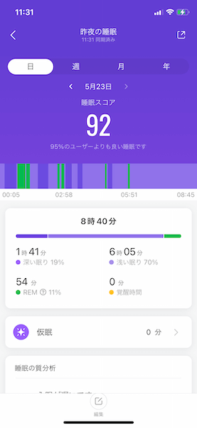 Mi Band 5 睡眠モニタリング