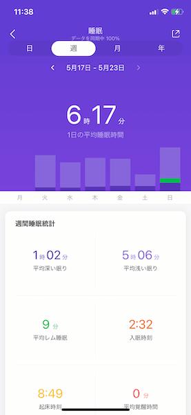 Mi Band 5 睡眠モニタリング2